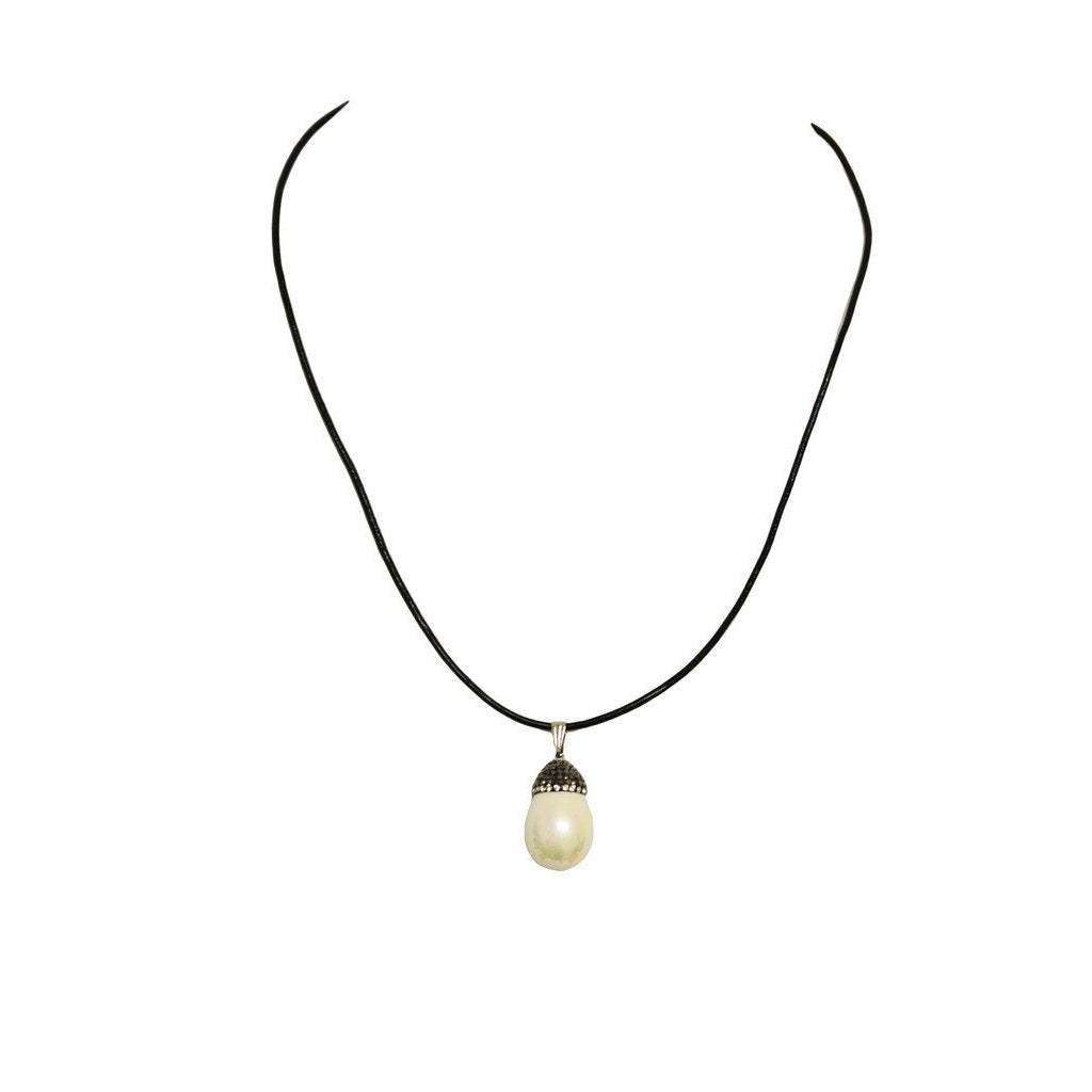 Natural Shell Pearl and Pave Crystal Pendant on 18 inch Leather Necklace