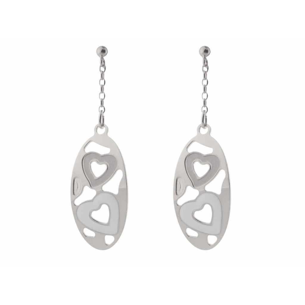 Sterling  Silver Earrings  Rose Vermeil  and White Enamel and Satin Finish  Hearts for $66.00 at Jewelry and More