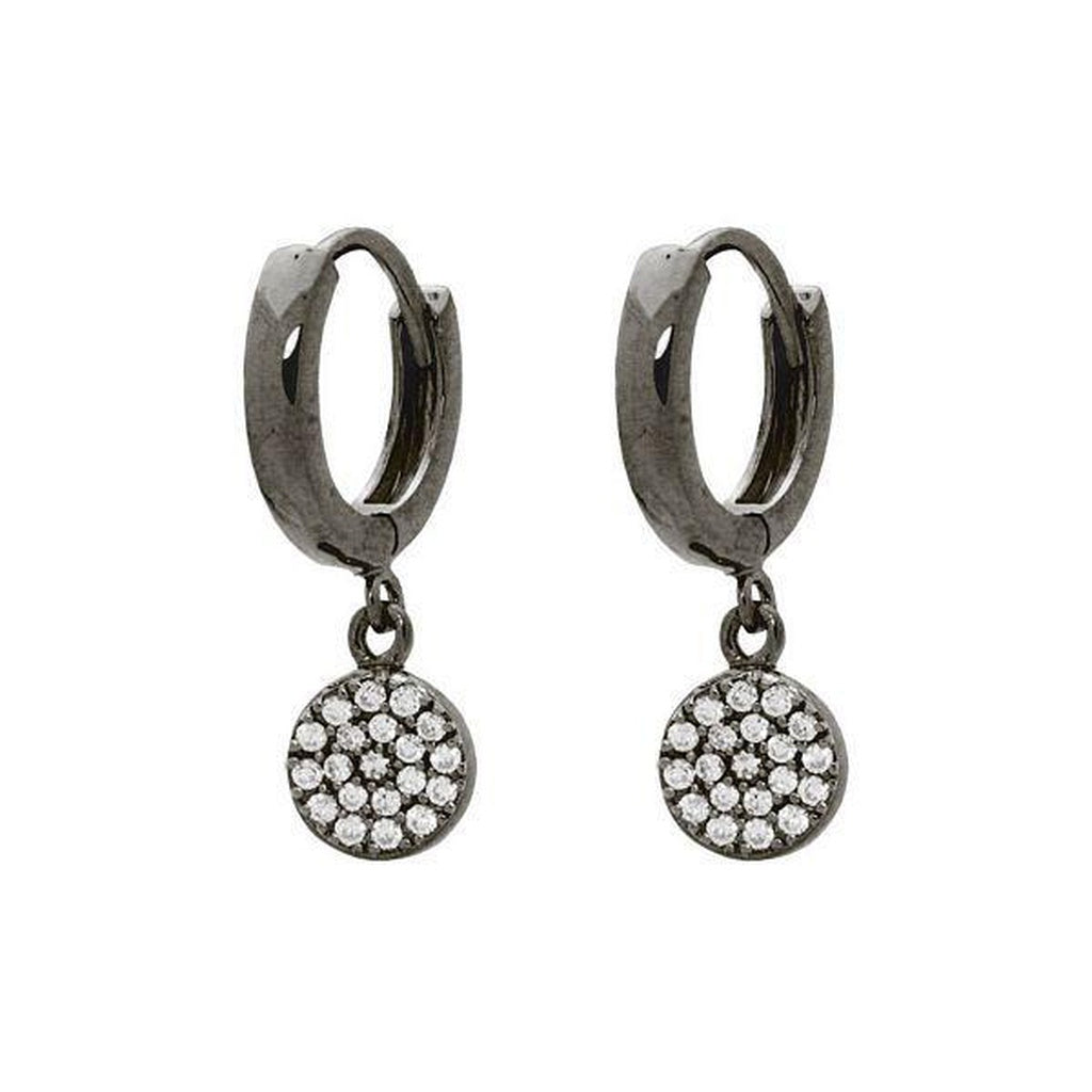 Gunmetal Black Cubic Zirconia Disc Dangling Huggie Earrings in Sterling Silver