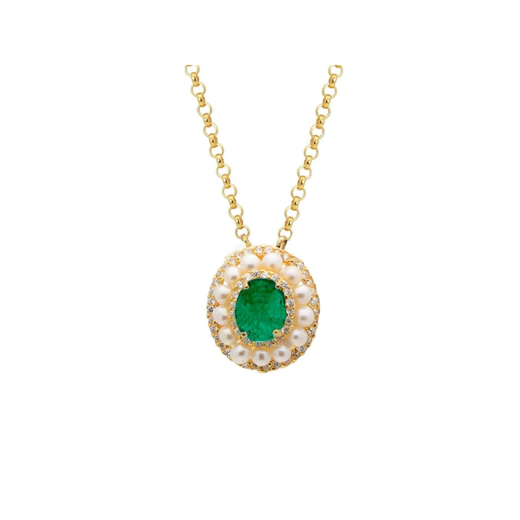 Collins Ave Emerald Quartz Doublet& Pearl Pendant Necklace in Vermeil