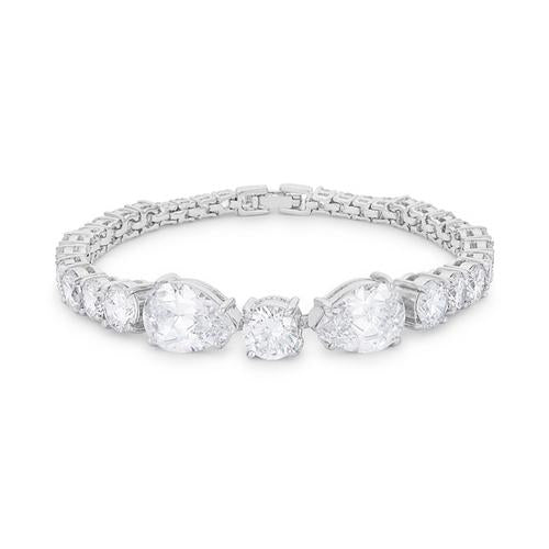 Elegant Pear and Round Cubic Zirconia Tennis Bracelet for $50.00 at Jewelry and More