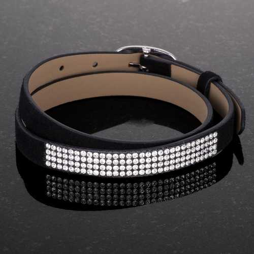 Stylish Black Colored Wrap Bracelet with Crystals