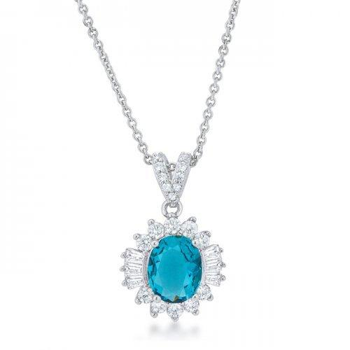 Chrisalee 3.2ct Aqua Cz Classic Drop Necklace (pack of 1 ea)