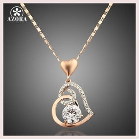 AZORA Rose Gold Color Stellux Crystals Heart Pendant Necklace for Valentine's Day Gift of Love TN0009 for $17.99 at Jewelry and More