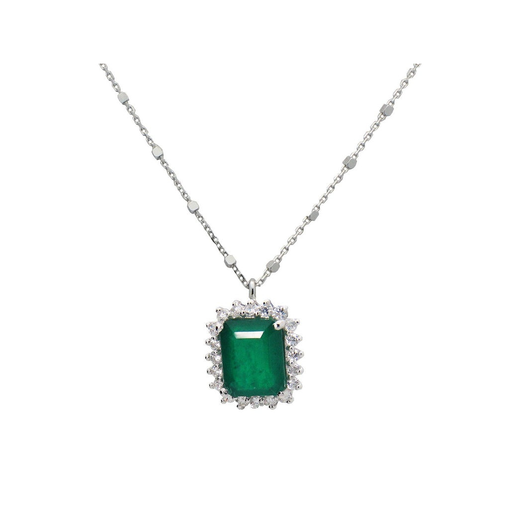 Royal Emerald Doublet & CZ Pendant Necklace, Length: 17 Inches