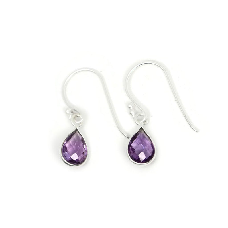 Sterling Silver Petite Pear Faceted Amethyst Dangle Earrings