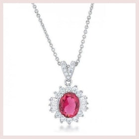 Chrisalee 3.2ct Ruby Cz Rhodium Classic Drop Necklace (pack of 1 ea) for $24.00 at Jewelry and More