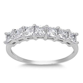 Sterling Silver 7 Stone Princess Cut CZ Stacking Anniversary Ring