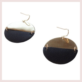 Black and Brass Semi Circle Earrings for $42.00 at Jewelry and More