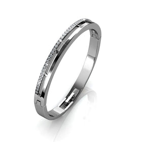 Silver Bangle with Crystal Line