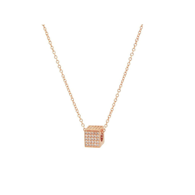 Rose Gold Sparkling Cube Pendant Necklace