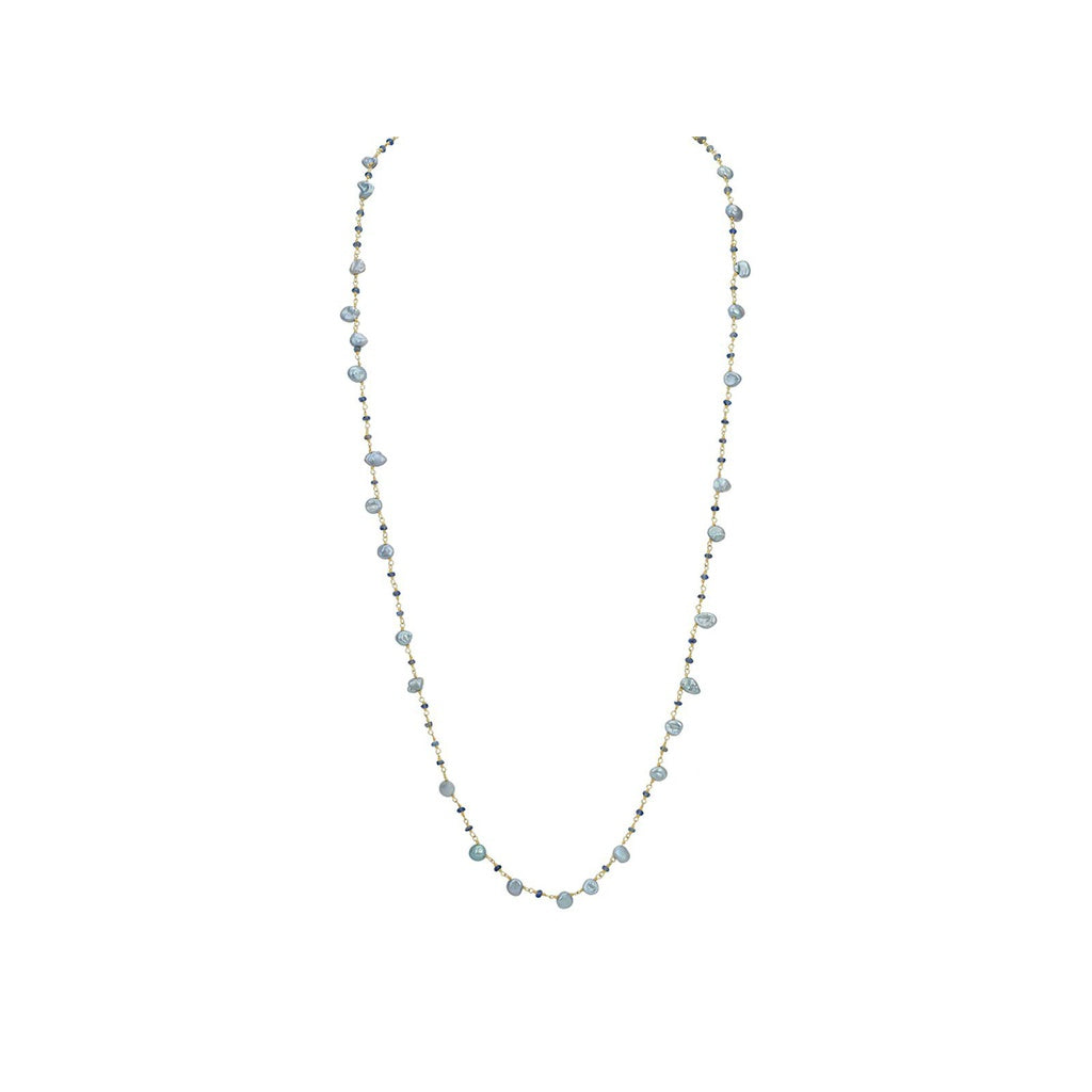 Keshi Pearls & Quartz Necklace, 42""
