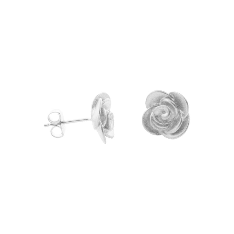Silver Rhodium Plated Rose Flower Stud Earrings for $56.00 at Jewelry and More