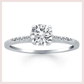 14K White Gold Engagement Ring with Diamond Band Design for $1695.75 at Jewelry and More