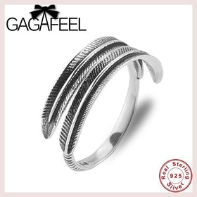 Punk Feather Ring Men Jewelry 100% Pure 925 Sterling Silver Rings For Women Vintage Style Resizable 925 Thai Silver Ring CR0047 for $13.77 at Jewelry and More