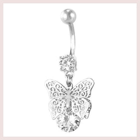 Jewelry - U7 New Butterfly Belly Button Ring For Women Gift Body Jewelry Party Cubic Zircon Belly Navel Ring Piercing D011