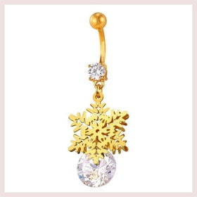 Jewelry - U7 New Fashion Body Jewelry For Women Gift Crystal Party Navel Ring Piercing Snow Flower Belly Button Ring D012