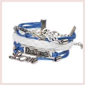 "Jewelry - Womens Leather ""Believe&Love"" Letter Alloy Pendant Bracelet Charm Blue Rope Chain DIY Woven Fine Jewelry"