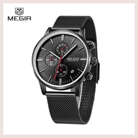 Megir Brand Men's Watch Clock Reloj Hombre Top Luxury Stainless Steel Mesh Strap Sport Quartz Wristwatch Mens Watches Montre for $49.99 at Jewelry and More