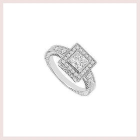 Princess Cut Diamond Halo Engagement Ring 14K White Gold  0.75 CT TDW for $2956.59 at Jewelry and More