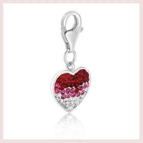 Sterling Silver Heart Style Charm With Red  Pink  And White Tone Crystal Accents