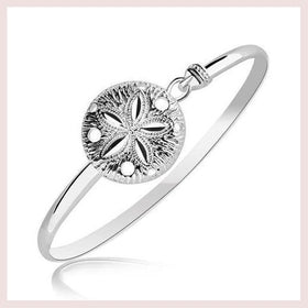 Sterling Silver Sand Dollar Motif Thin Bangle With Rhodium Plating