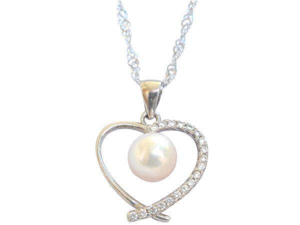 Akoya Pearl Heart Pendant On Sterling Silver