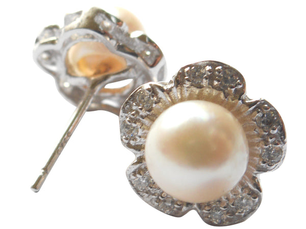 Akoya Pearl Stud Earrings Floral Style On Sterling Silver