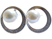Akoya Pearl Stud Earrings With CZ Circle On Sterling Silver