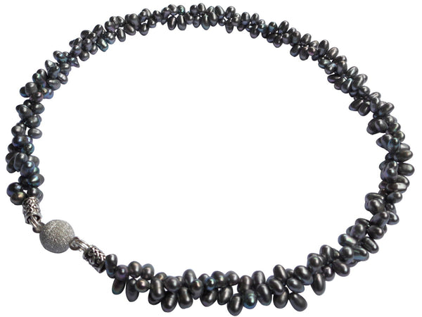 Black Torsade Freshwater Pearl Necklace On Sterling Silver Magnetic Clasp