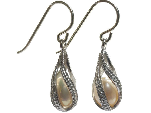 Cage Freshwater Pearl Earrings