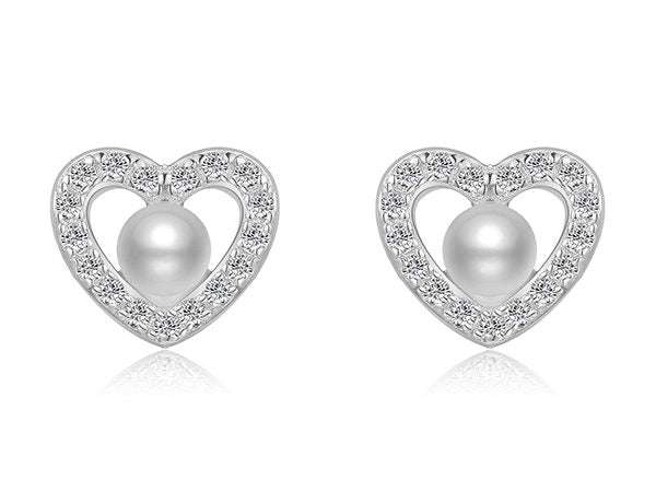 Dainty Freshwater Pearl Heart Stud Earrings
