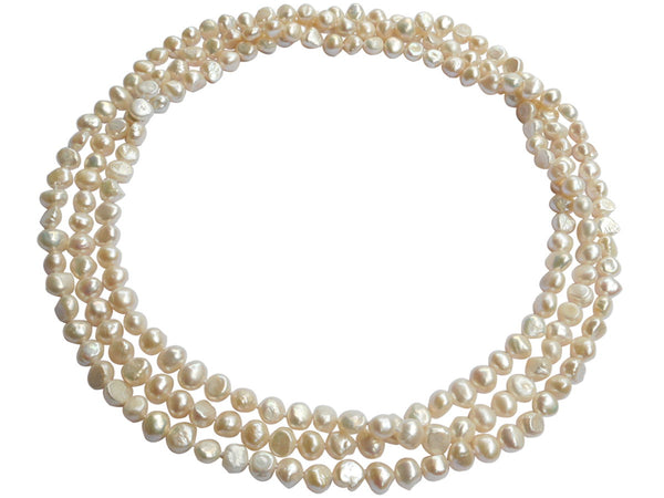 Extra Long Semi Baroque Freshwater Pearl Necklace