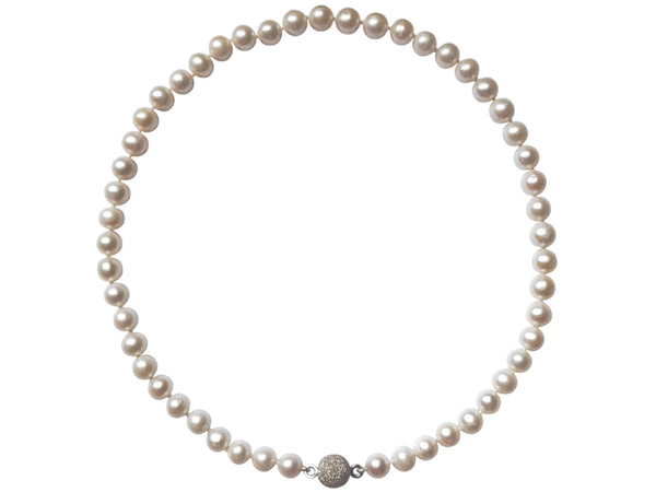 Freshwater Pearl Necklace 8-9mm On Sterling Silver Magnetic Clasp Main View