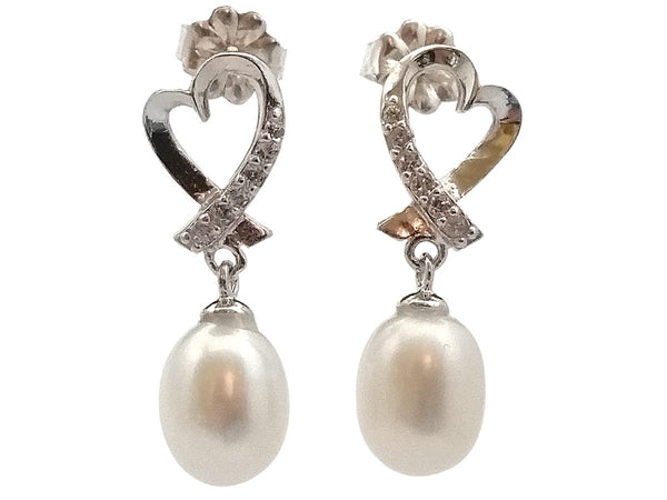Freshwater Pearl Drop Stud Earrings Heart Shape