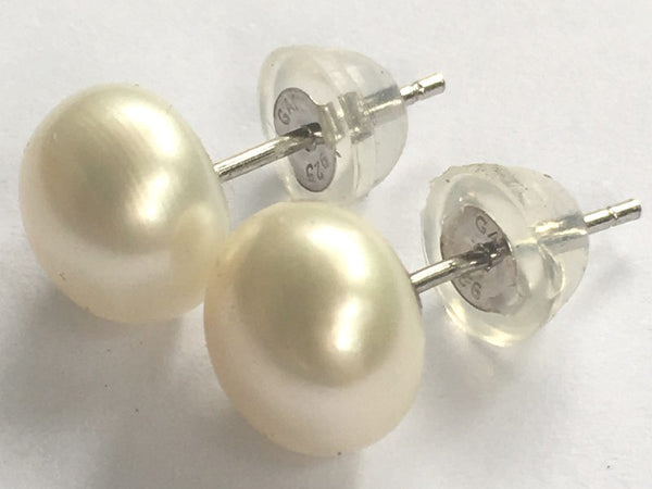 Freshwater Pearl Stud Earrings On Sterling Silver