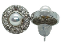 Japanese Akoya Pearl Stud Earrings Ornate Style Base On Sterling Silver With Cubic Zirconia Front And Back View