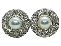 Japanese Akoya Pearl Stud Earrings Ornate Style Base On Sterling Silver With Cubic Zirconia Main View