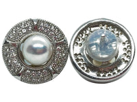 Japanese Akoya Pearl Stud Earrings Ornate Style Base On Sterling Silver With Cubic Zirconia Front And Back View Alternative