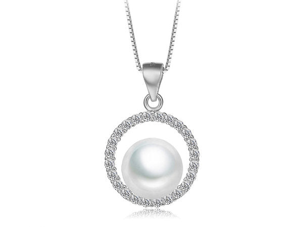Ornate Freshwater Pearl Cubic Zirconia Circle Pendant