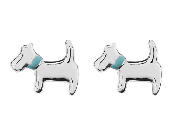 Sterling Silver Dog Stud Earrings 8mm
