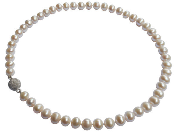 Freshwater Pearl Necklace On Sterling Silver Magnetic Clasp 7.5-8.5mm