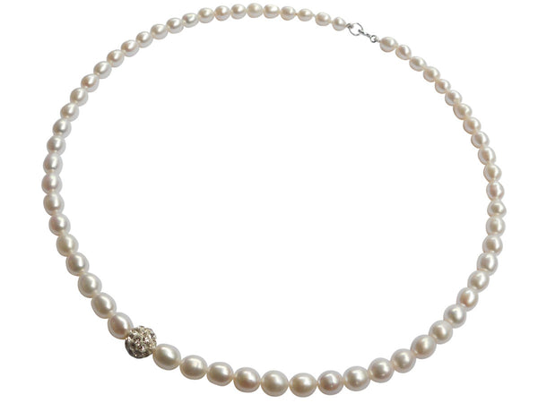 Single Shamballa Freshwater Pearl Necklace Rice Version Set On Sterling Silver Clasp