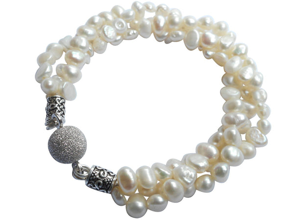 White Torsade Freshwater Pearl Bracelet On Sterling Silver Magnetic Clasp