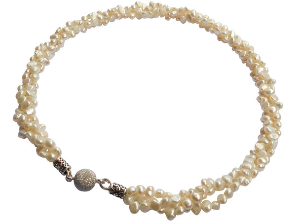 White Torsade Freshwater Pearl Necklace With Sterling Silver Magnetic Clasp