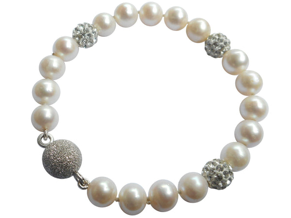 White Triple Shamballa Freshwater Pearl Bracelet On Sterling Silver Magnetic Clasp