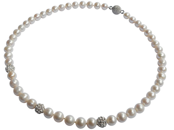 Triple Shamballa Freshwater Pearl Necklace On Sterling Silver Magnetic Clasp