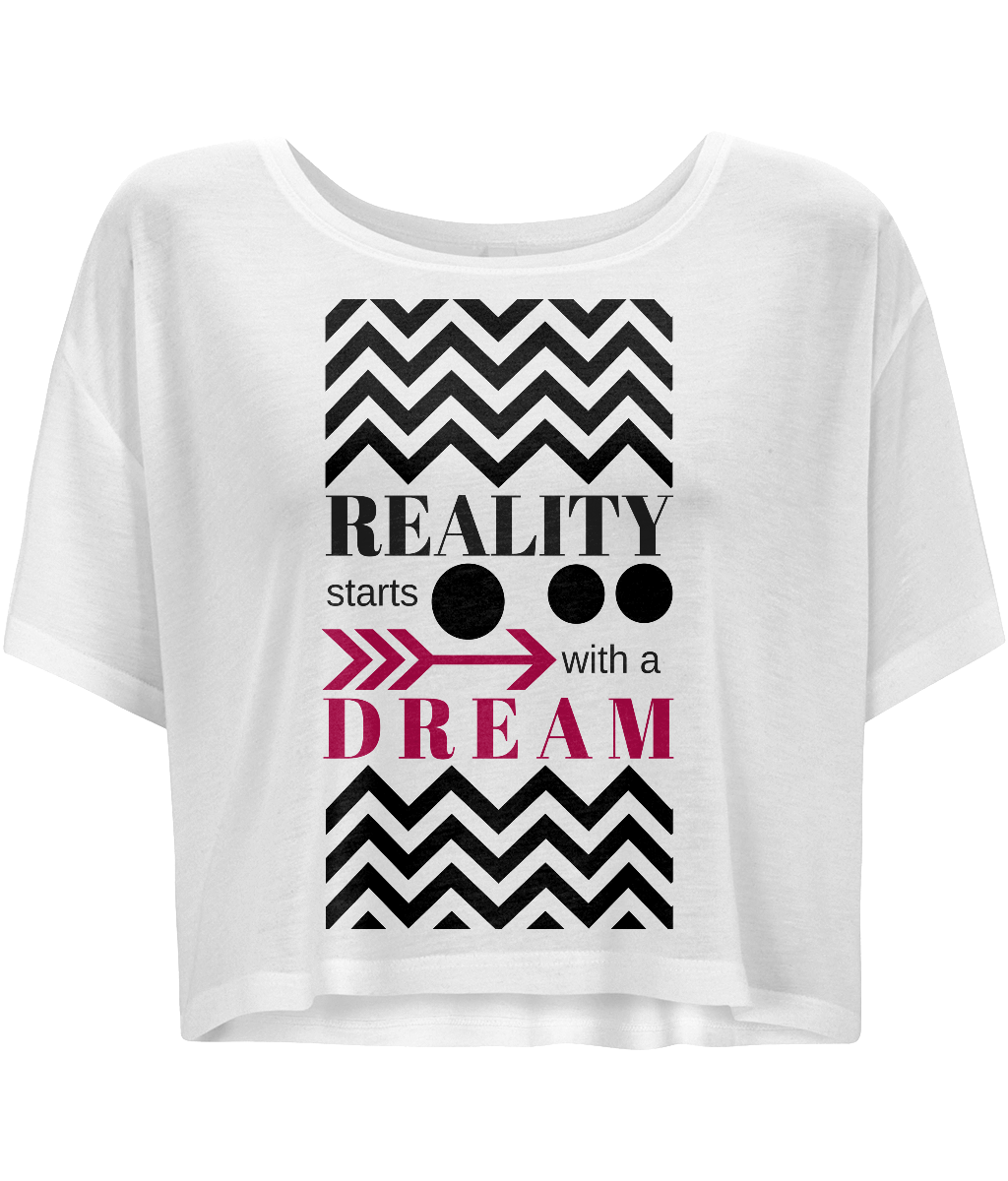 Women Flowy Boxy T-Shirt - REALITY starts with a dream