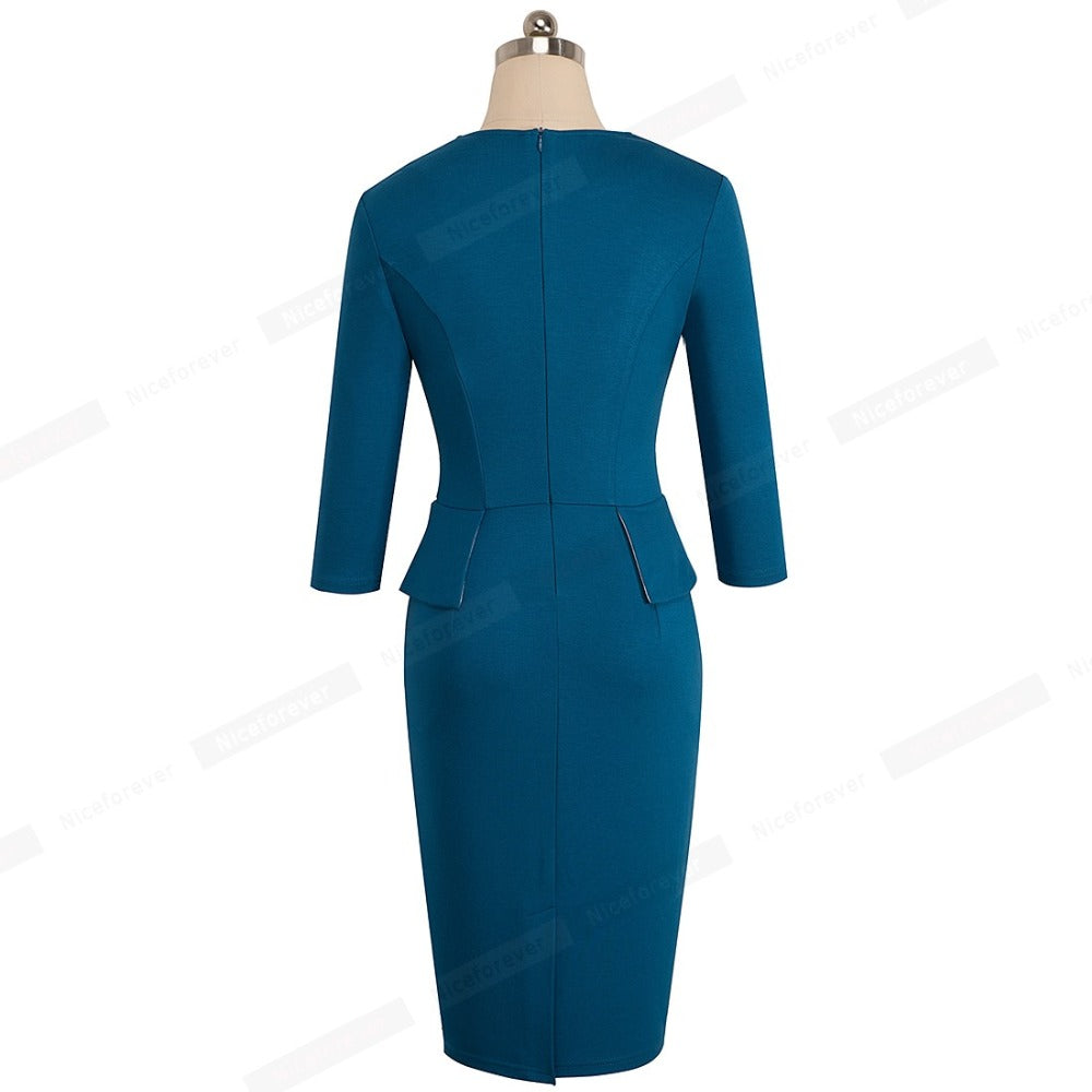 Office Jacket + Dress 2 Pieces Set Office Uniform for business ...