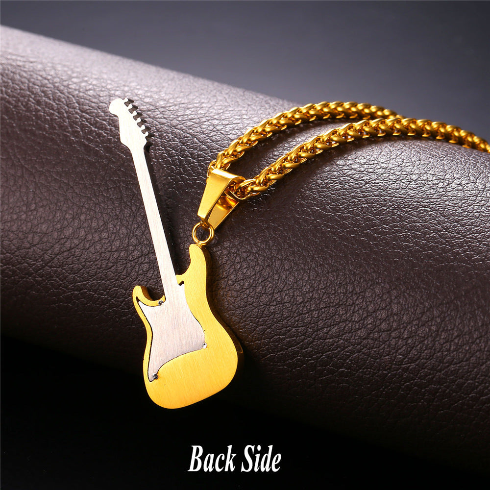 Necklace with Guitar Pendants for Gents - crowned Fashions